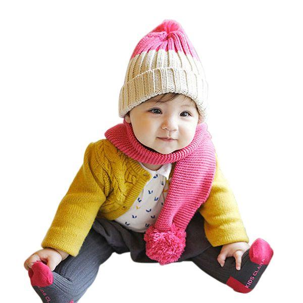 Recém Dupla Bola Cachecol Crianças Inverno Bebê Pescoço Cachecóis Quentes Menino Menina de Malha Cachecol Collar Para 2-6 Anos de Bebê VK-ING