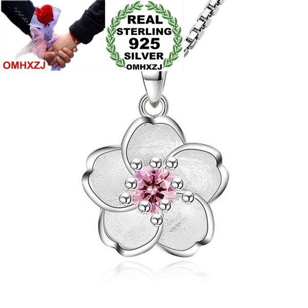 OMHXZJ Atacado Moda Flores De Cerejeira Menina Mulher Presente Zircon 925 Sterling Silver Pingente Encantos PE117 (NO Colar De Corrente)