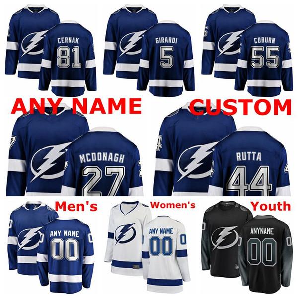 Tampa Bay Lightning Formalar Erik Cernak Forması Braydon Coburn Dan Girardi Ryan McDonagh Jan Rutta Mavi Beyaz Hokey Formaları Özel Dikişli