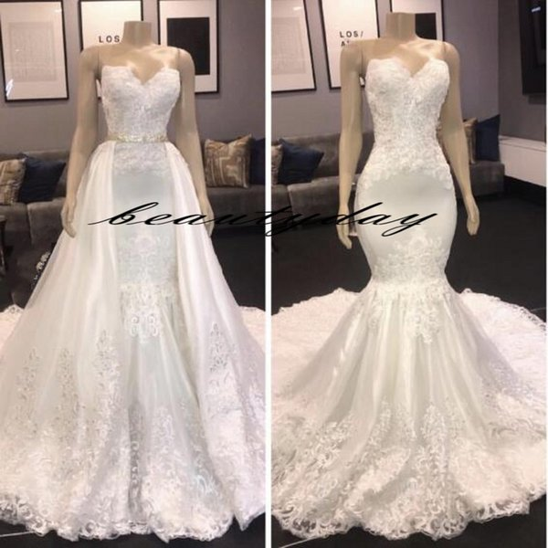 2019 robes de mariée sirène Vintage plage Overskirts robe de mariée robe de maternité enceintes robes de mariée sexy dentelle ivoire sans bretelles