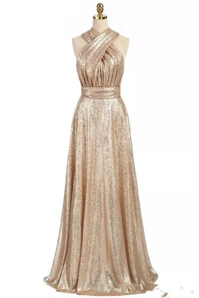 Sparkly Convertible Gold Sequins Bridesmaid Dresses A-line Long Maid of Honor Dresses Wedding Party Gowns
