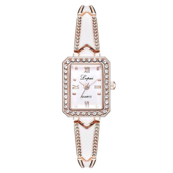 Bluelans Elegant Women Rhinestone Inlaid Square Dial Quartz Bracelet Wrist Watch Gift