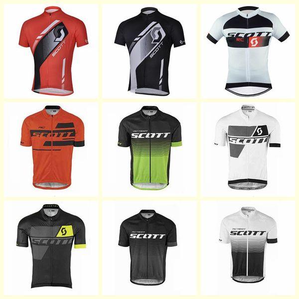 Скотт команда Велоспорт с короткими рукавами Джерси быстросохнущая велосипедная одежда мужская дышащая спорта на открытом воздухе бесплатная доставка U52903