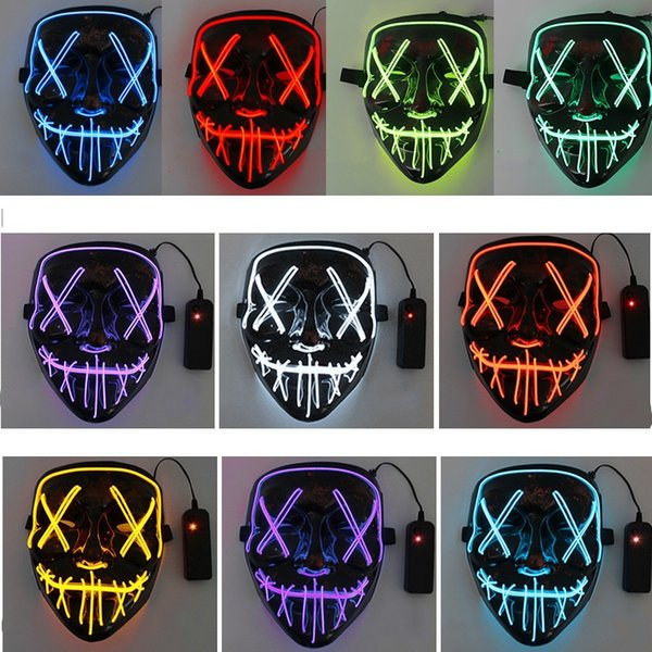 Halloween masks LED Light Mask Creative Light Up Party Neon Cosplay Costume Tools Party Horror Glowing Dance Masks 7002