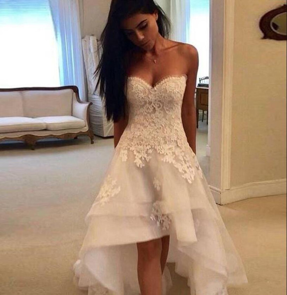 Elegant Lace High Low Wedding Dresses Sweetheart Tulle Applique Layered Ruffles Summer Beach A Line Wedding Bridal Gowns