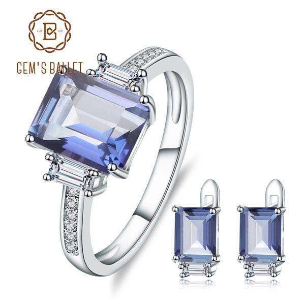 БАЛЕТ GEM природного Iolite Синий Мистик Кварц Gemstone серьги кольцо Set Pure 925 Наборы изящных ювелирных изделий стерлингового серебра для женщин