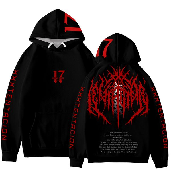 MENS And Womans Casual Spring Autumn In Memery Of XXX Tentacion Designer Hoodie Black Fashion Design Autumn Thick With Hood WARM