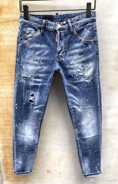 Les jeans européens hommes debout, jeans hommes, une paire de jeans skinny et crânes noirs brodés # 0115