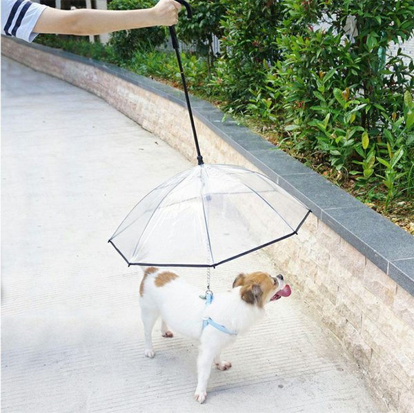 Creative Adjustable Pet Umbrella With C-shape Handle Rainy Day Traction Rope Transparent Umbrella Pet Rainy Day Walking Supplies
