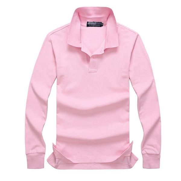 top popular 2019 Polo shirt Solid Men Luxury Polo Shirts long Sleeve Men's Basic Top Cotton Polos For Boys Brand Designer Polo Homme FC12 2019