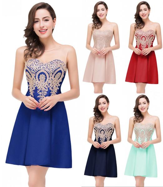 En Stock Appliqued cordón cortos Vestidos de Fiesta-line barato partido de coctel del vestido de noche de baile Mini Club Wear CPS361