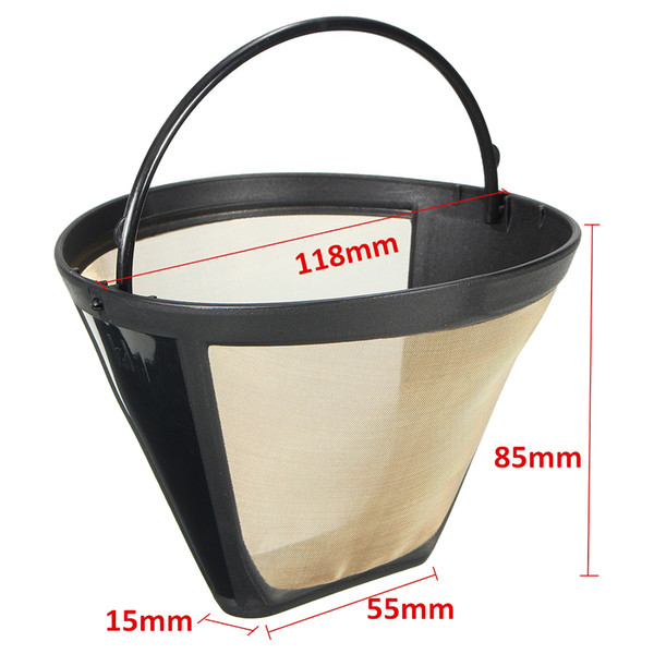 Coffee Filter Permanent Reusable 2019 free shipping 4 Cone Shape Coffee Filter Mesh Basket Stainless New