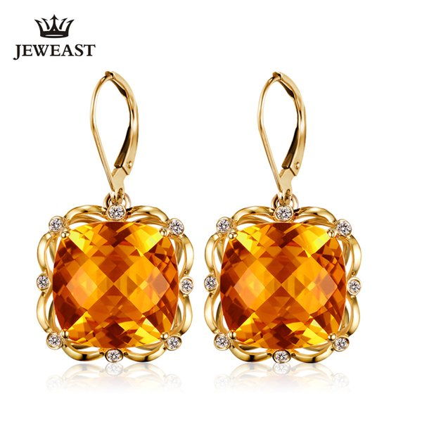 Natural citrine 18K Pure Gold Earring Real AU 750 Solid Gold Earrings Diamond Trendy Fine Jewelry Hot Sell New 2019