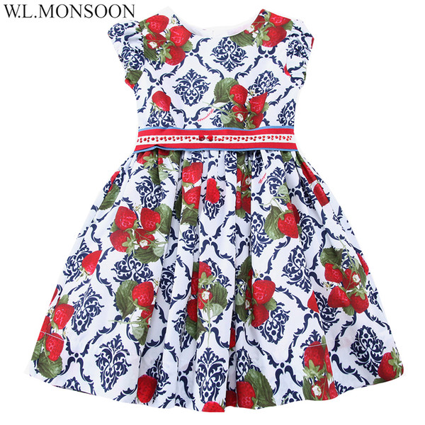 W.L.MONSOON Girls Dress Summer 2019 Brand Princess Dress Children Costumes Strawberries Print Clothes Kids Dresses with Sashes