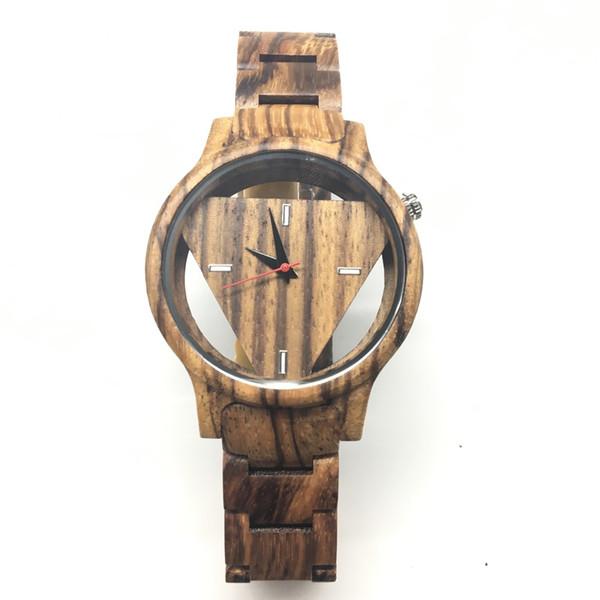 Brown Relógio De Madeira Completa Para Homens Triângulo De Madeira Com Movimento Japão Para Os Melhores Presentes Para O Marido Dropshipping