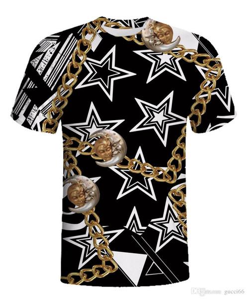 2019 New Mens T shirts Cotton Poloshirt Shirt 3D Medusa Floral Print T shirts Fashion Sports Casual T shirt Men Tees Tops