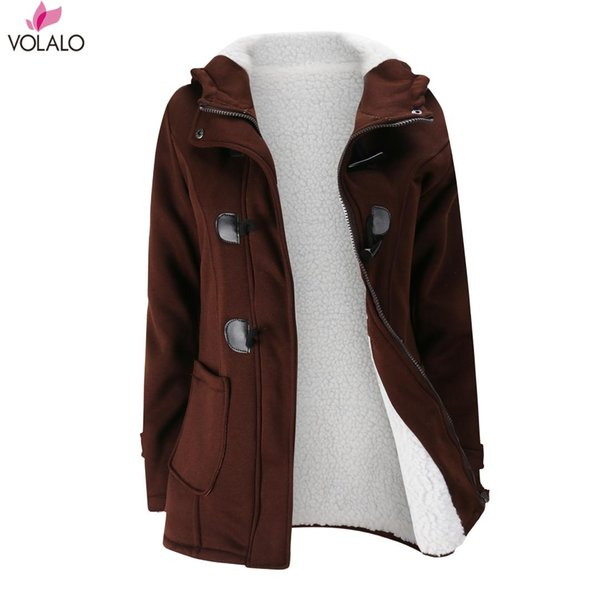 Womens Winter Fashion Outdoor Warm Wool Blended Pea Coat Hooded Horn Buckle Thickening Cotton-padded Clothes Lambs Jacket