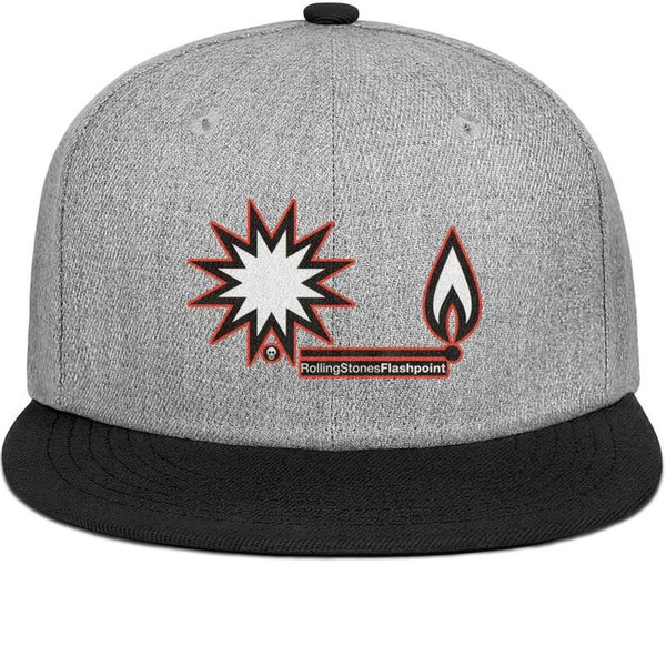 The Rolling Stones Flashpoint2 mens and womens flat brim hats black snapback cool kids hats plain design your own custom your own plain retr