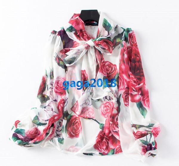 Haut de gamme marques italiennes femmes filles soie chemisier chemisier à manches longues à fleurs style de piste d et gg shirt élégant chemisier en organza noeud