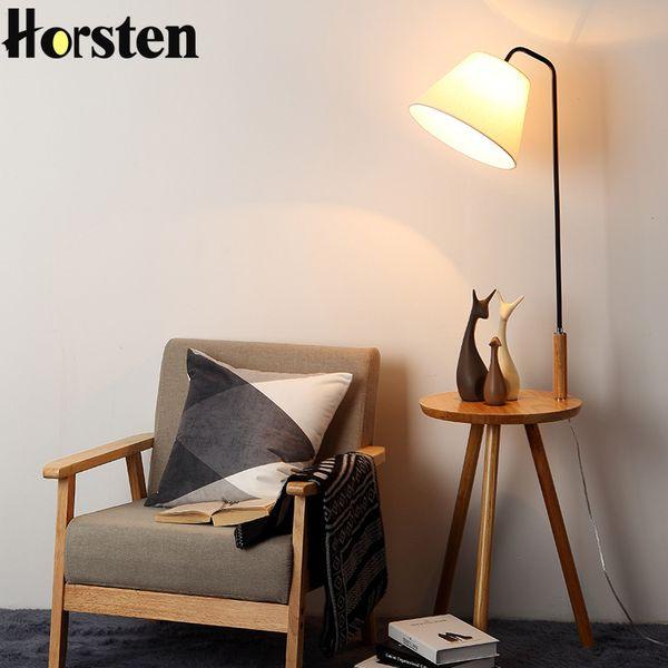 2019 Wooden Floor Lamp OAK Modern Living Room Bedroom Study Floor Standing  Lamps White Fabric Wooden Lights Home Decor From Jigsaw, $282.02 | ...