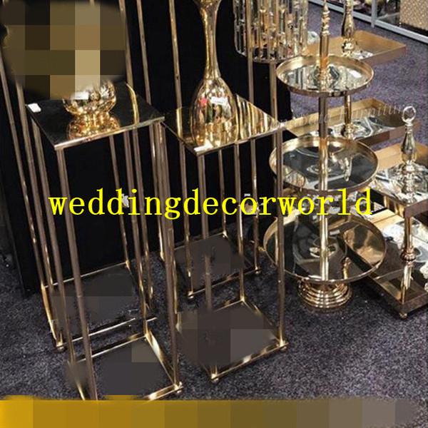Nuovo insieme all'ingrosso della candela del supporto della candela del cono di cerimonia nuziale del supporto sottile supporto di candela d'oro del metallo decor359
