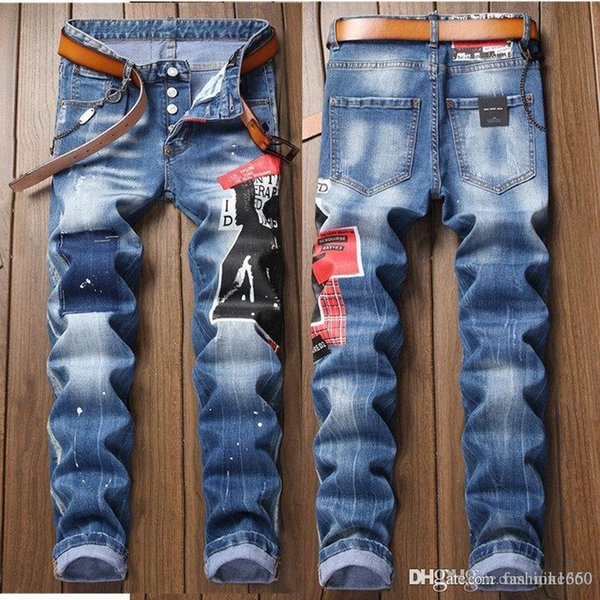 top popular 2020 High Street Fashion Mens Jeans Vintage Straight Fit Destroyed Ripped Jeans Homme Hip Hop Punk Pants Classical Men 2020