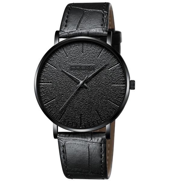 Mens montres de luxe en cuir marque de mode or argent montres noires ultra-mince montre-bracelet analogique à quartz