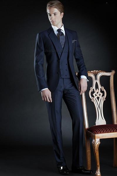 Fashion Navy Blue Groom Tuxedos Notch Lapel Groomsmen Mens Wedding Dress Excellent Man Jacket Blazer 3 Piece Suit(Jacket+Pants+Vest+Tie) 922