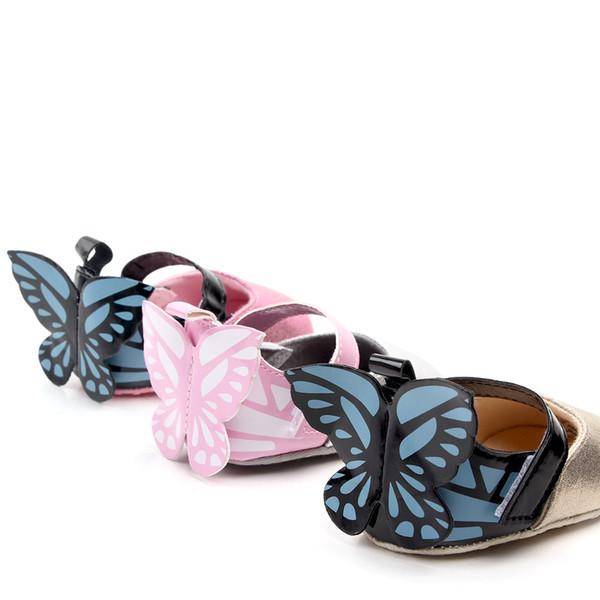 Novo Recém-nascido Kid Baby Girl Princesa Sapatos Com Borboleta Asas Sapatos Berço Primeiros Caminhantes Meninas Sapatos