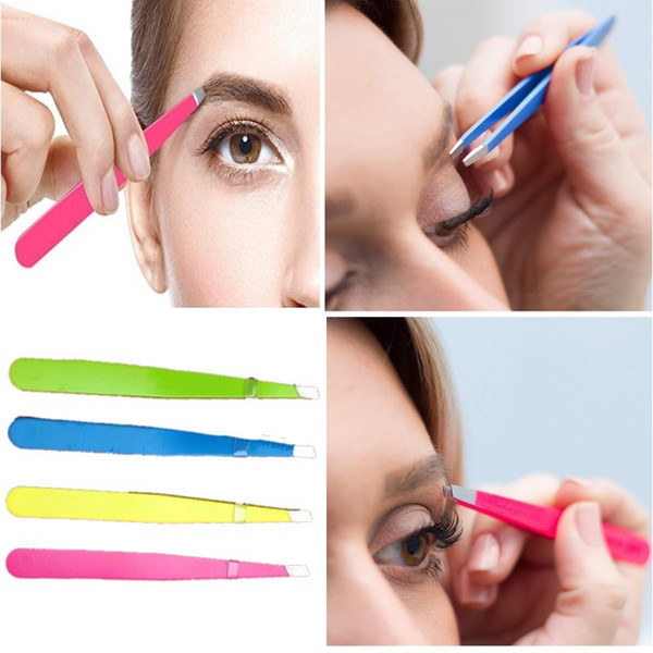 best selling Eyebrow Tweezers Professional Stainless Steel Face Hair Removal Eye Brow Trimmer Eyelash Clip Cosmetic Beauty Makeup Tool