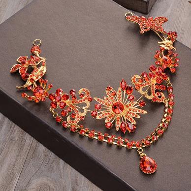 Bride's Red Headwear Hair Ornament Alloy Spot Drill Side Clamp Aesthetic Handmade Head Flower Hair Band Forehead Ornament Marriage Jewelry