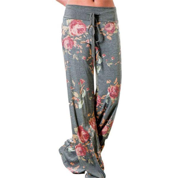 Causal Women Autumn Flower Print Pants 2017 Drawstring Wide Leg Pants Loose Straight Trousers Long Female Plus Size Trousers