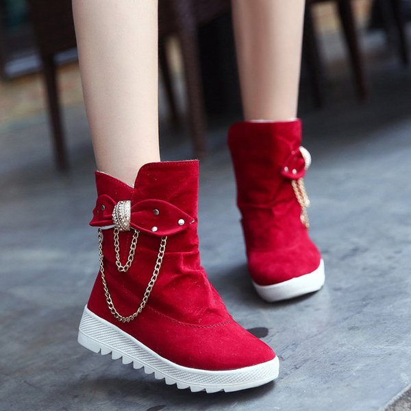 2018 Snow Boots Winter Female Ankle Boots Warmer Plush Bowtie chain Rubber Flat Slip On Fashion Platform Women's Shoes563