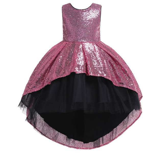 Boutique sequin girls dresses bows flower girl dresses for wedding kids designer clothes girls princess dress long kids Party Dress A5399