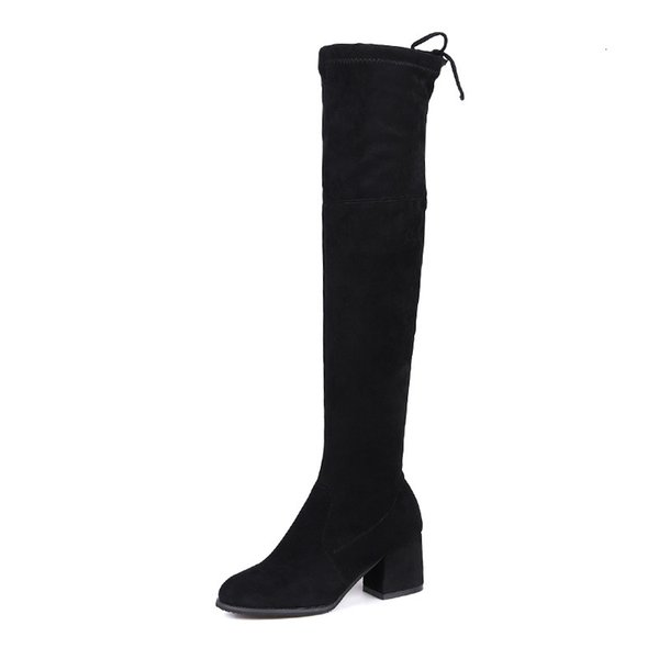 Okoufen Over-the-knee Boots Women Basic Shoes For Women Heels And Pumps Round Toe Boots