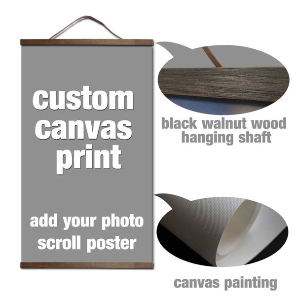 your picture favorite photo family baby canvas painting poster and custom print art with solid wood hanging scrolls