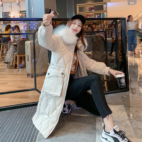 2019 Mode Long hiver pour femmes Veste en coton matelassé chaud Épaissir longues pour femmes Manteaux Parka Femmes Vestes Big Pocket