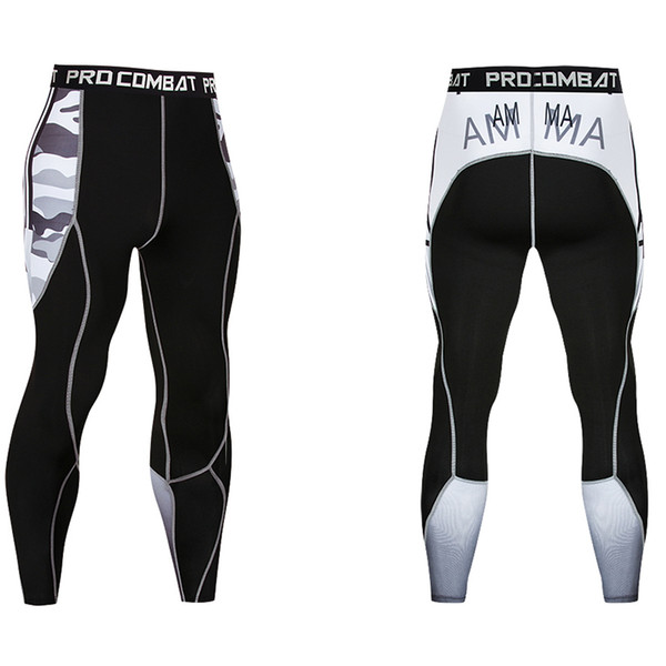 Best selling compression pants 3d printing new camouflage MMA pattern tights men's trousers fitness quick-drying trousers