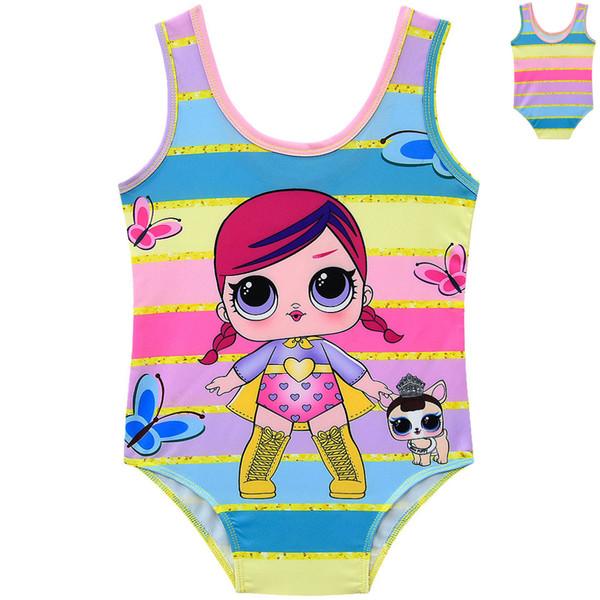 Girls Cartoon Doll Swimsuit Cute Princess One-Pieces Bathing Suit Summer Toddler Rainbow Swimwear Fashion Baby Beachwear TTA898