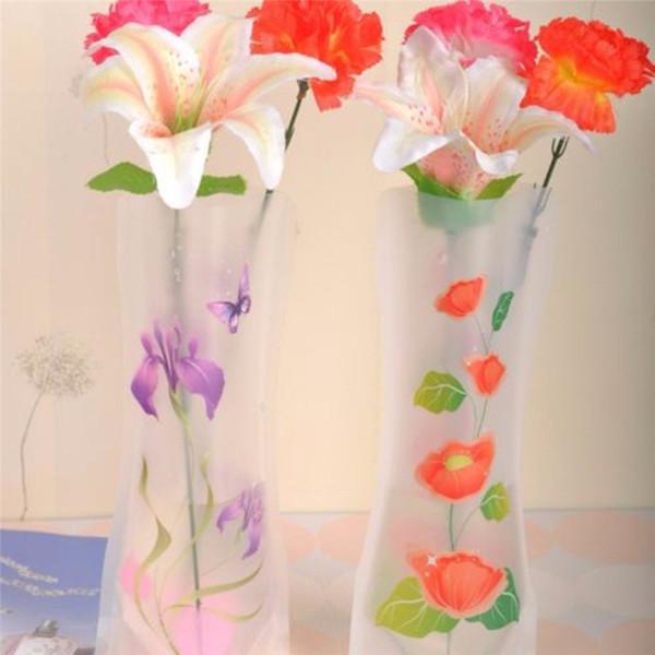 1Pc Экологичные складной Складной цветок ПВХ Прочные Ваза Свадеб Декор случайный цвет Легко хранить 27 х 12 см