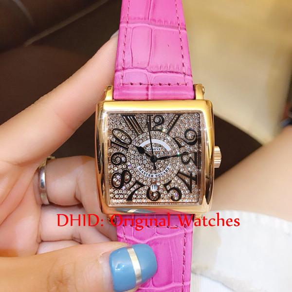 Relojes de damas rojo / rosa / gris / marrón cuadrado maestro tamaño mini relojes de mujer caja de acero hebilla de correa Número de línea grande cuarzo relojes A53