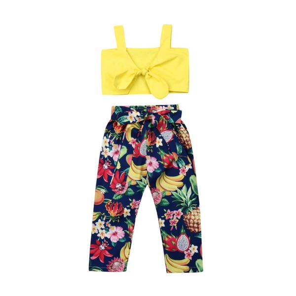 Casual Tout-petit Enfant Fille Jaune Bracelet bowknot débardeurs + fruits tropicaux Imprimer Bow Ceinture Pantalons longs Tenues de vêtements d'été