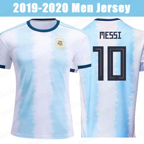 19 20 Argentina 10 MESSI Soccer Jerseys 9 AGUERO DYBALA 22 LAUTARO DI MARIA Home 2019 national team Men Football Shirts Uniforms