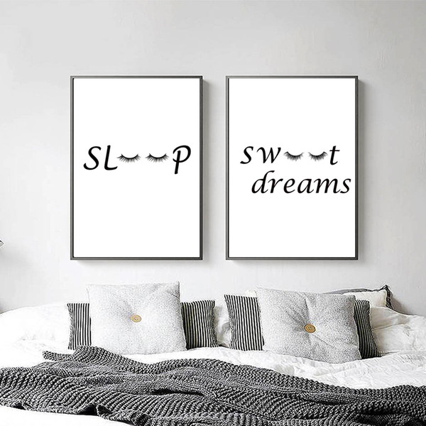 2019 Kids Bedroom Warm Decor Poster Black White Sleep Quotes Canvas  Painting Nordic Minimalist Wall Art Pictures For Home Decor No Frame From  ...
