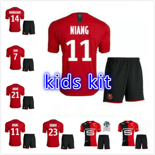 kids kit Stade Rennais 19 20 SOCCER JERSEYS HOME RED BLACK STRIPE SARR NIANG BOURIGEAUD ANDRE 2019 youth JERSEY AWAY FOOTBALL SHIRTS