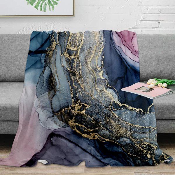 Throw Blanket Blush Payne's Gray and Gold Metallic Abstract Throw Blanket Warm Microfiber Blanket