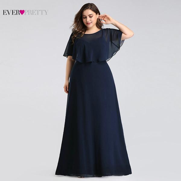 Vestidos para madre de la novia Talla grande Nunca Ez07762 Barato Azul marino Una línea de gasa largo elegante formal Vestidos de noche J190622