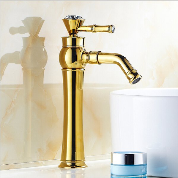 Bathroom Luxury Gold Plated Basin Faucets With Diamond Swivel Mixer Taps Single Hole Sink Faucet Torneira Banheiro G1032