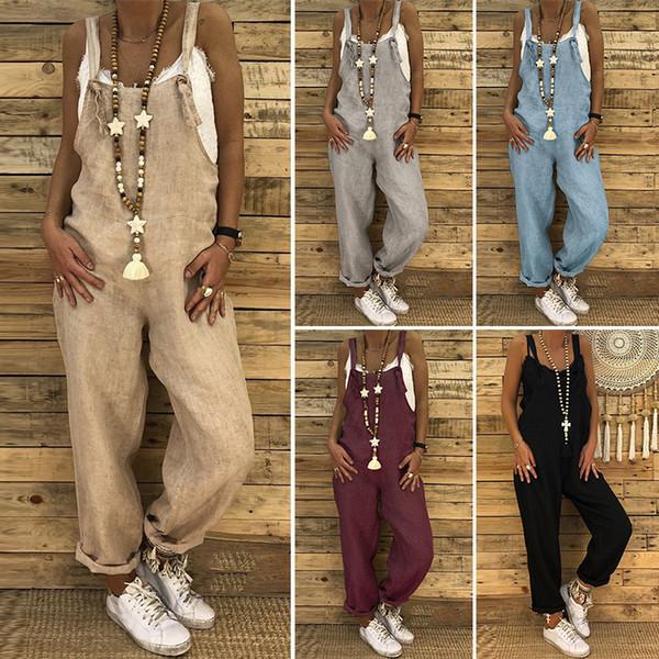 Plus Size Combinaison Femme Bib Overalls Womens Jumpsuits 2019 Zanzea Backless Rompers Playsuit Female Harem Pants Pantalon 5xl Y19051501