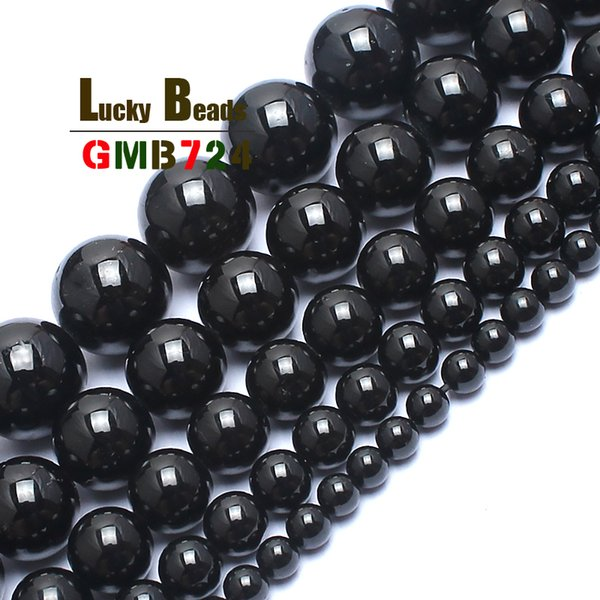 Fashion Jewelry Natural Black Tourmaline Stone Round Beads For Jewelry Making 15inches 4/6/8/10/12mm Gem Stone Beads Diy Bracelet 2